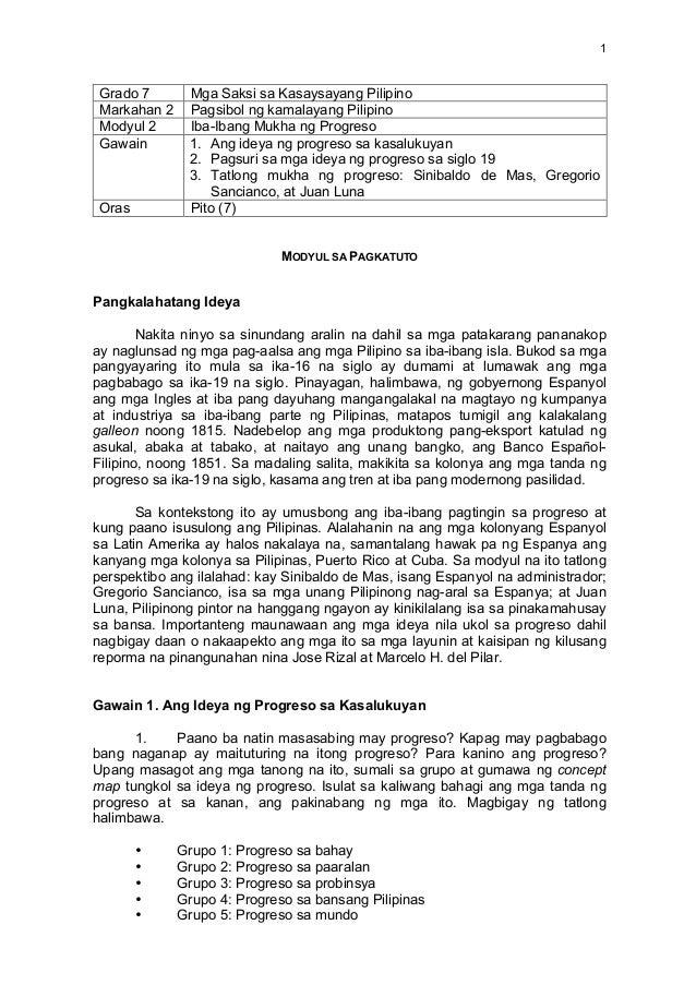 1   Grado 7 Mga Saksi sa Kasaysayang Pilipino Markahan 2 Pagsibol ng kamalayang Pilipino Modyul 2 Iba-Ibang Mukha ng P...