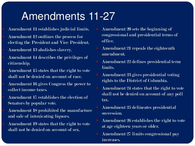 the list of amendments in the united states constitution The constitution's 27 amendments: the conversation that is the united states has the bill of rights was less a collection of amendments than a list of.