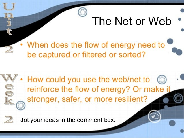 The Net or Web• When does the flow of energy need to  be captured or filtered or sorted?• How could you use the web/net to...
