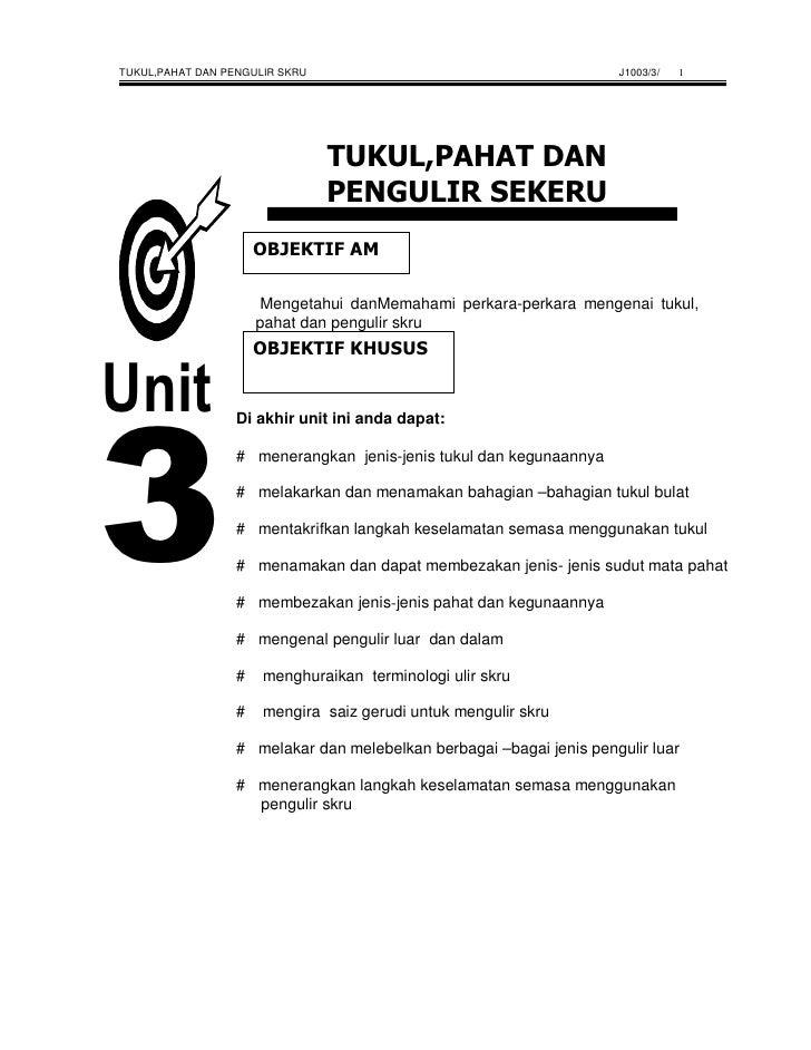 TUKUL,PAHAT DAN PENGULIR SKRU                                        J1003/3/   1                           Mengetahui dan...