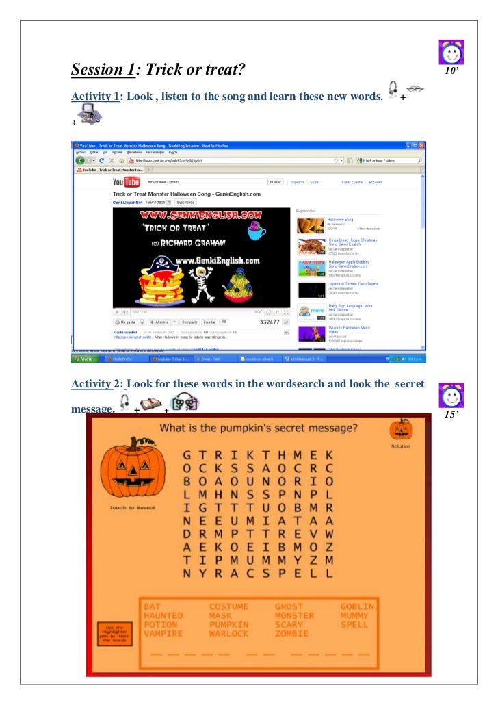 Session 1: Trick or treat?                                               10'Activity 1: Look , listen to the song and lear...