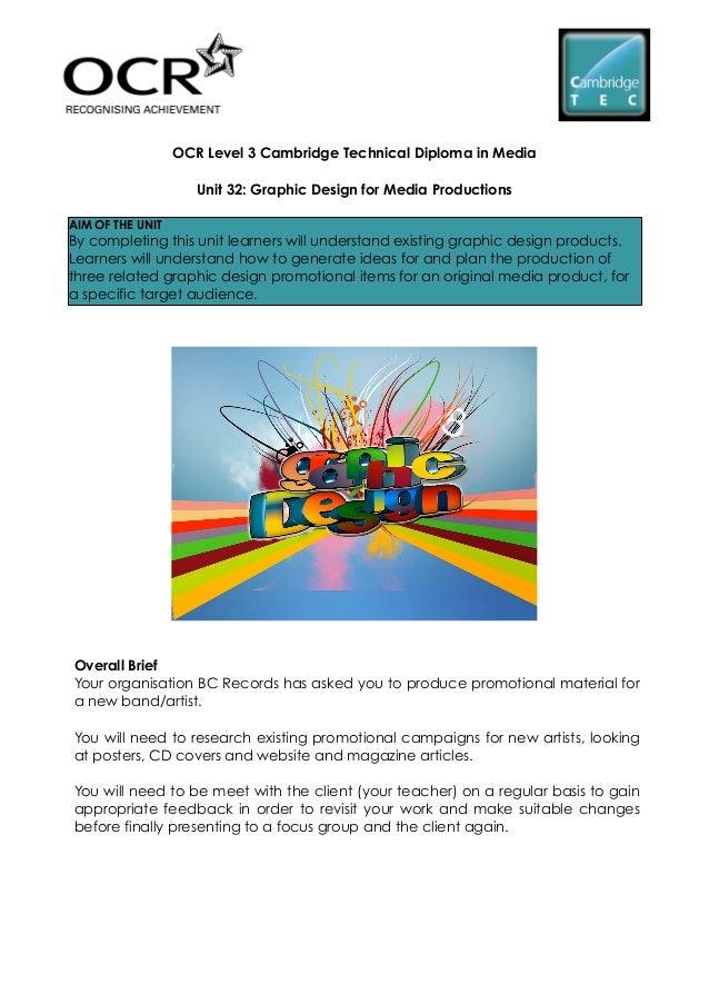 Cambridge Technicals Media Level 3 - Unit 32 graphic design for media productions