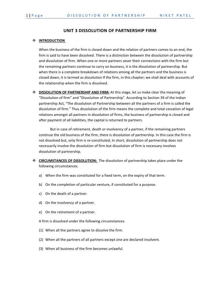 1|Page                  DISSOLUTION OF PARTNERSHIP                                   NIKET PATEL                      UNIT...
