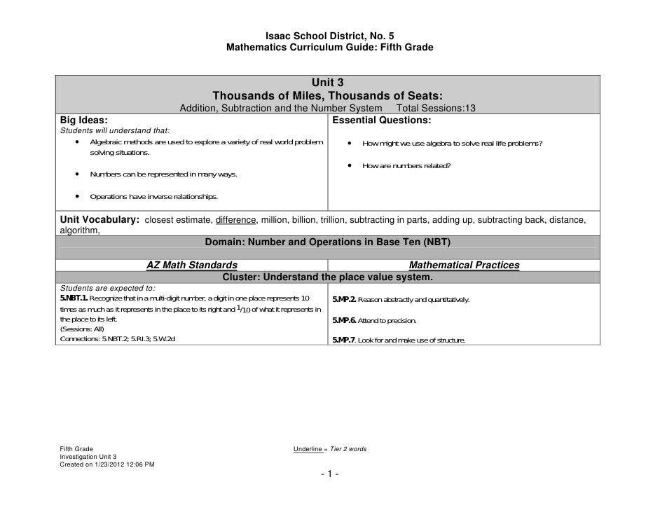 Isaac School District, No. 5                                                         Mathematics Curriculum Guide: Fifth G...