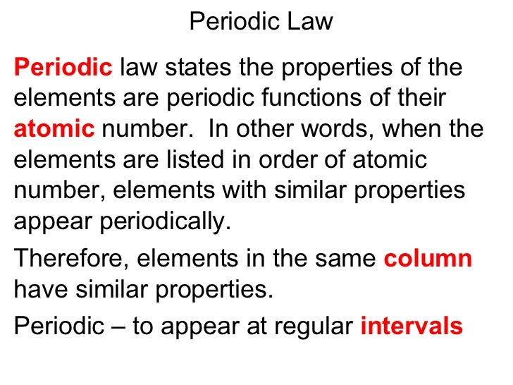 Periodic Law Example Unit3presentation