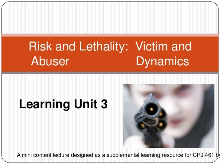 Learning Unit 3<br />Risk and Lethality:  Victim and Abuser       Dynamics<br />A mini content lecture designed as a sup...