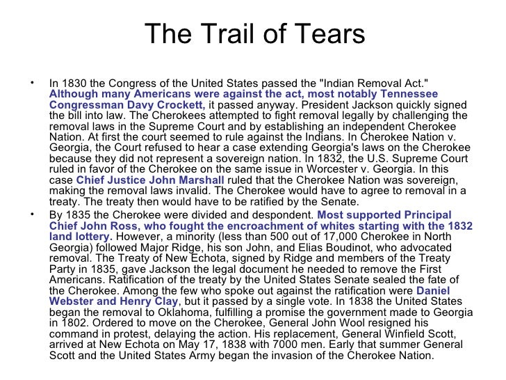 Trails of tears essay definition