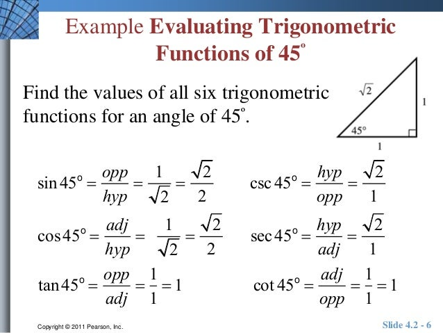Evaluating Sine Cosine And Tangent Of Pi2: Unit 4.2