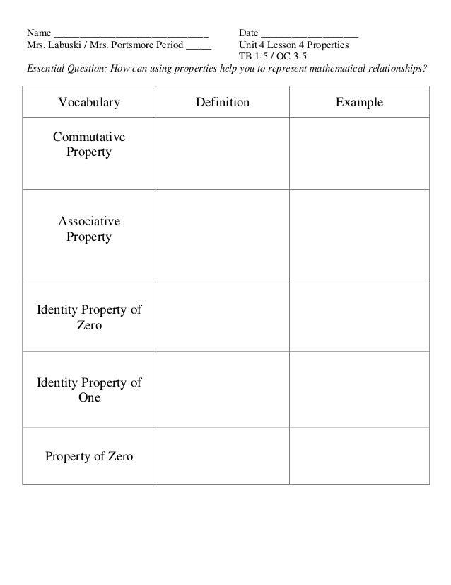 Unit 4 lesson 4 properties