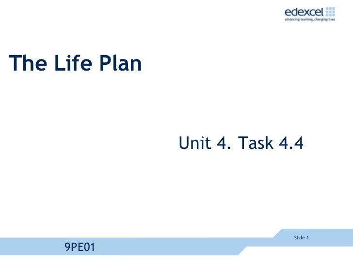 A2 PE Unit 4 life plan example