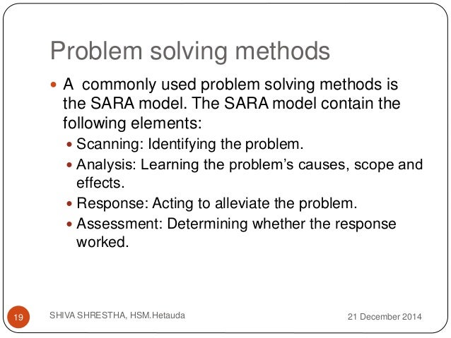 SARA Problem-Solving Process Custom Essay