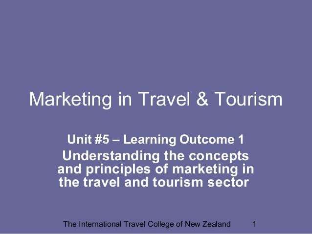 Marketing in Travel & Tourism Unit #5 – Learning Outcome 1  Understanding the concepts and principles of marketing in the ...