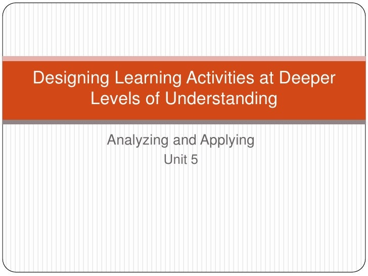Analyzing and Applying<br />Unit 5<br />Designing Learning Activities at Deeper Levels of Understanding<br />