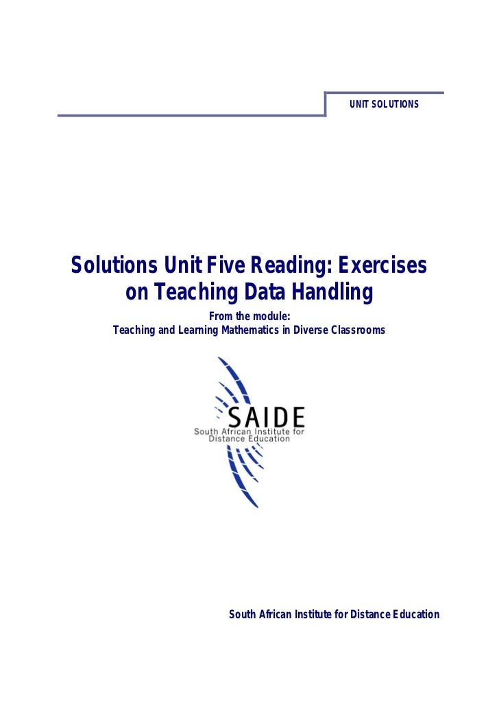 Ace Maths Solutions Unit Five Reading: Exercises on Teaching Data Handling (pdf)