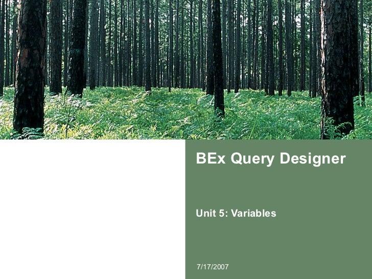 BEx Query Designer Unit 5: Variables 7/17/2007