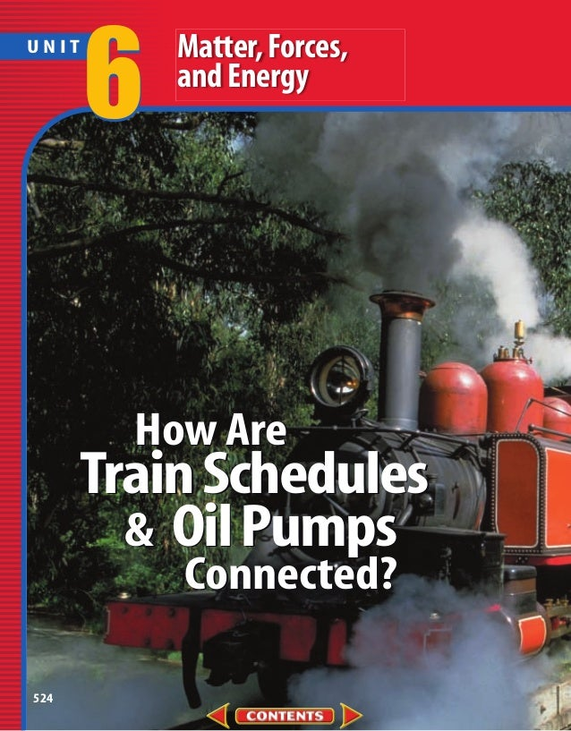 6   Matter, Forces,UNIT           and Energy        How Are      Train Schedules        & Oil Pumps           Connected?524