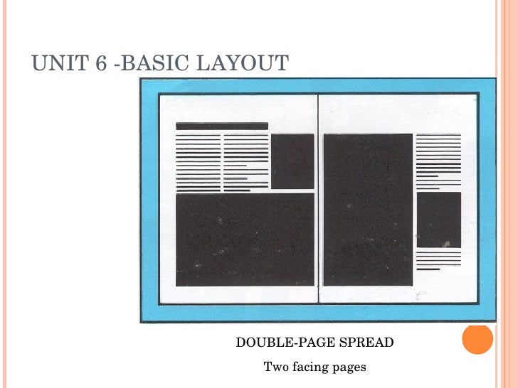 UNIT 6 -BASIC LAYOUT DOUBLE-PAGE SPREAD Two facing pages