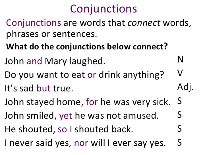Conjunctions Conjunctions  are words that  connect  words, phrases or sentences.  What do the conjunctions below connect ?...