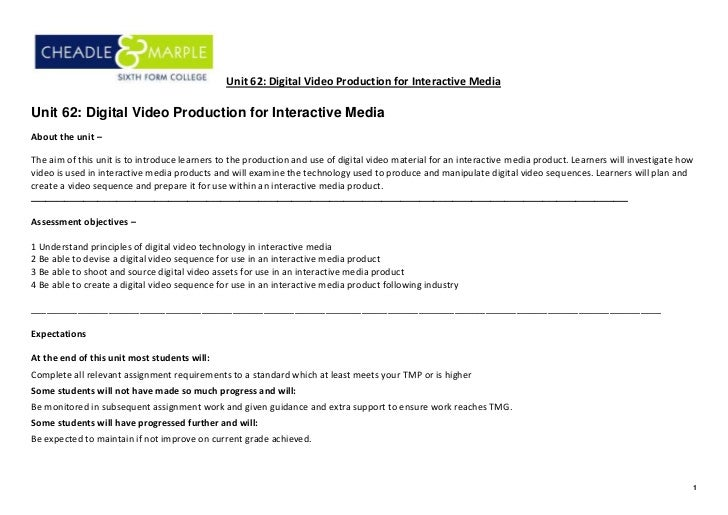 Unit 62: Digital Video Production for Interactive MediaUnit 62: Digital Video Production for Interactive MediaAbout the un...