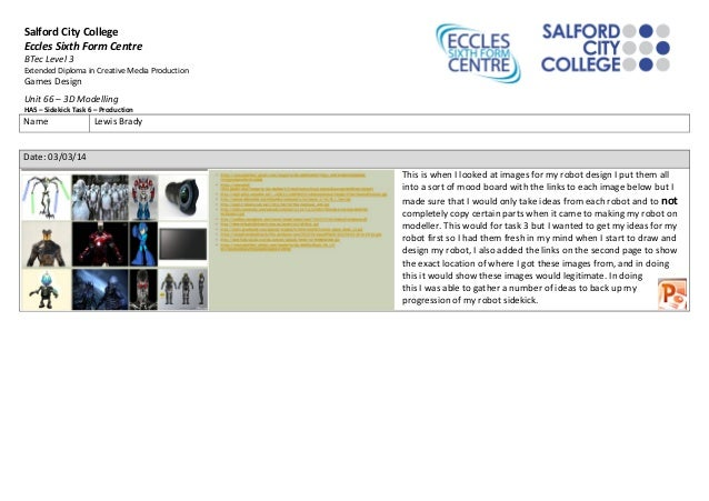 Salford City College Eccles Sixth Form Centre BTec Level 3 Extended Diploma in Creative Media Production Games Design Unit...