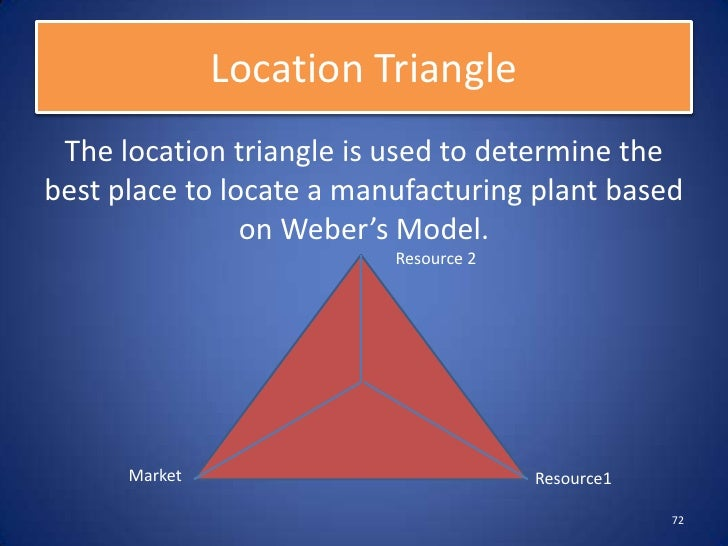 """theory of the location of industry alfred weber Who alfred weber (1868-1958) german economic geographer published theory of location of industries in 1909 """"what is the best (most profitable) location for manufacturing plants."""
