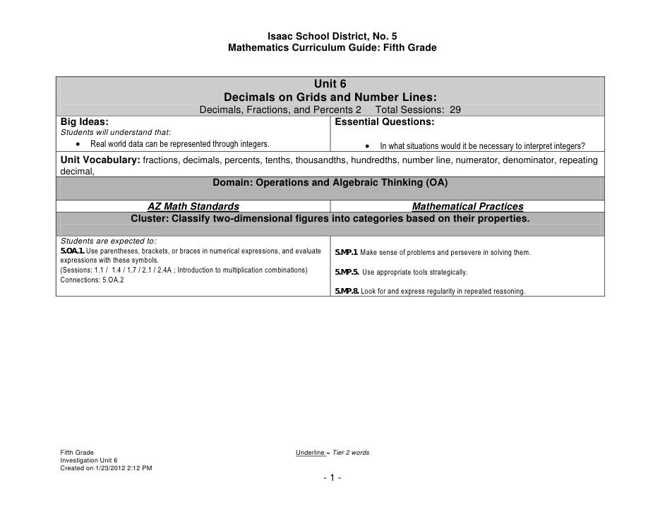 Isaac School District, No. 5                                                       Mathematics Curriculum Guide: Fifth Gra...