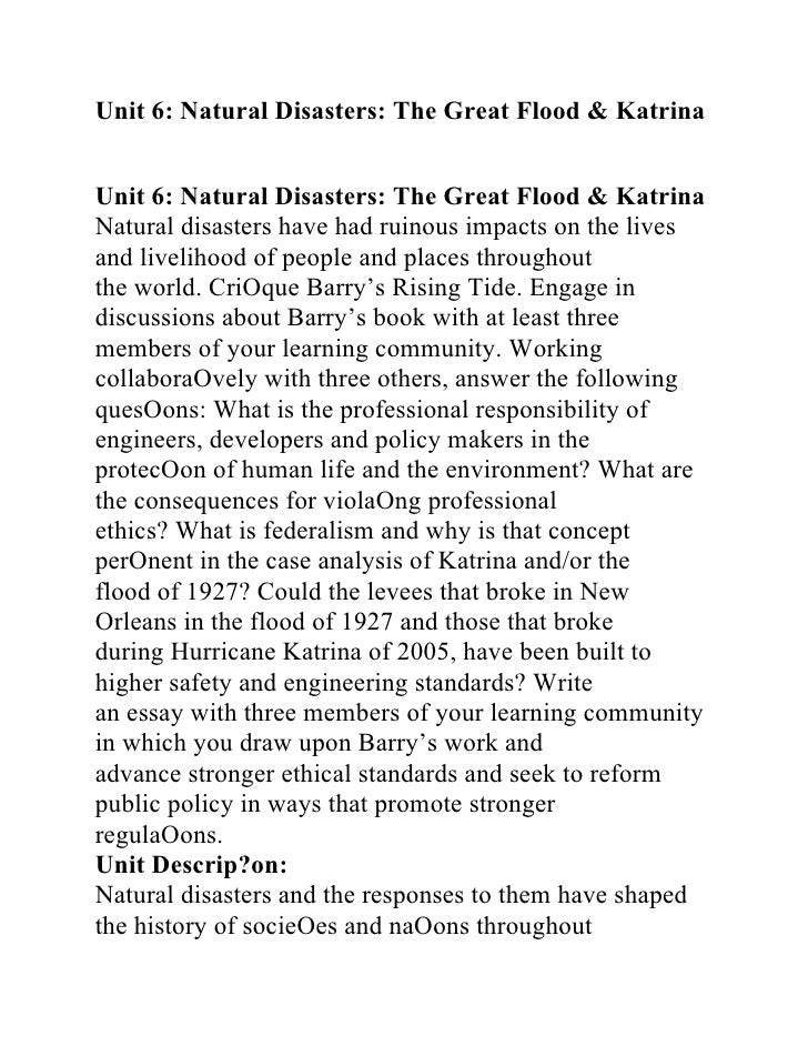 Essay on natural disasters