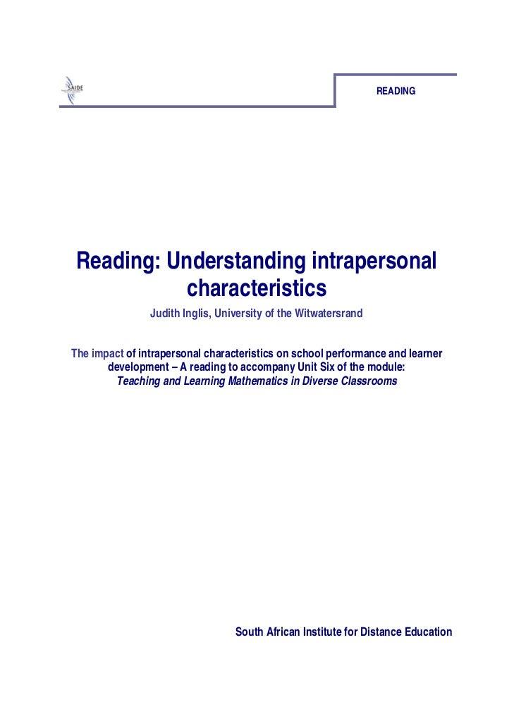 Ace Maths Unit Six: Teaching All Children Mathematics. Reading 2: Understanding Intrapersonal Characteristics (pdf)