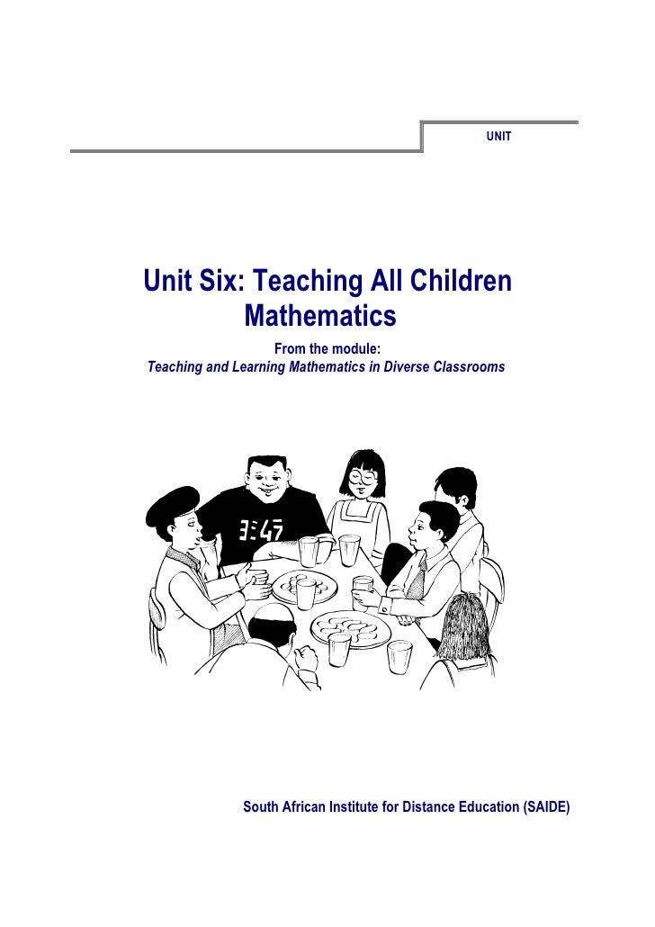Ace Maths Unit Six: Teaching All Children Mathematics (word)