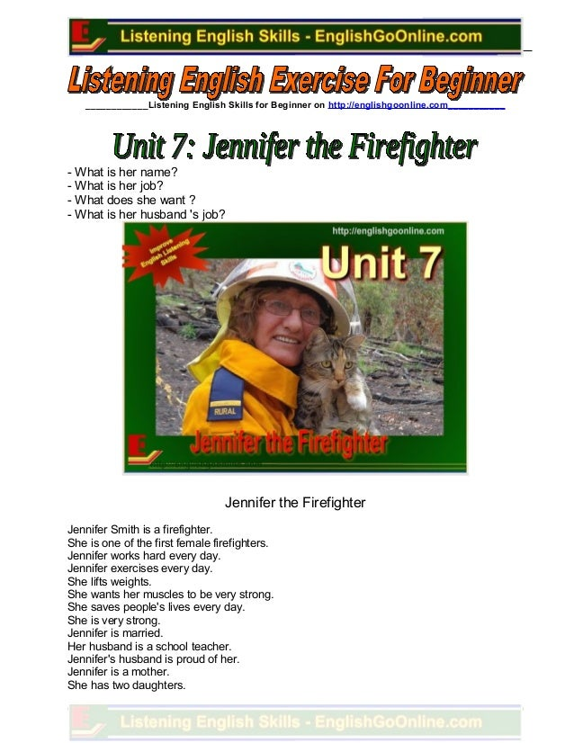 Unit 7. jennifer the firefighter