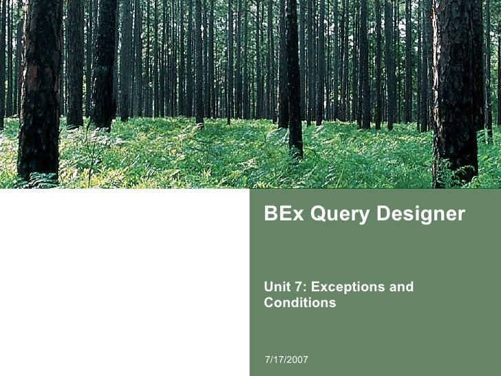 BEx Query Designer Unit 7: Exceptions and Conditions 7/17/2007