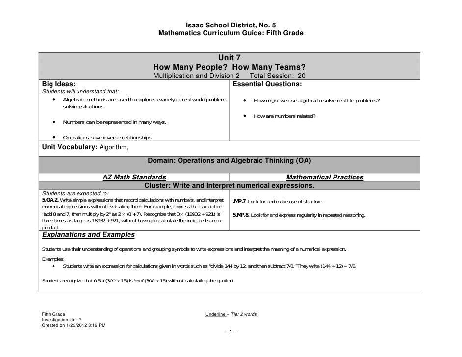 Isaac School District, No. 5                                                        Mathematics Curriculum Guide: Fifth Gr...