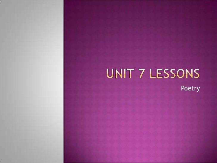 Hemrick Unit 7 lessons