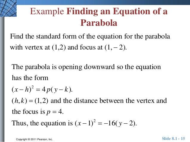 How To Write A Parabola Equation