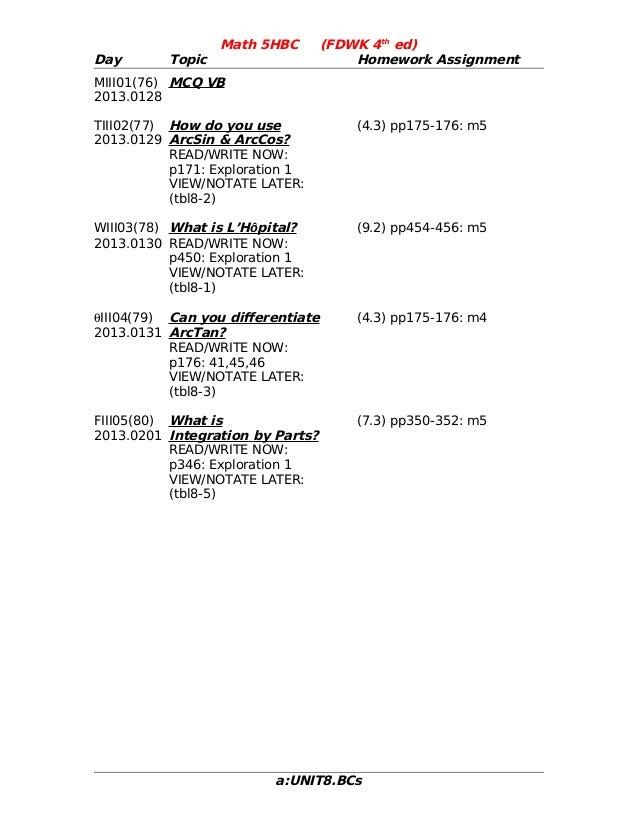Math 5HBC        (FDWK 4th ed)Day       Topic                        Homework AssignmentMIII01(76) MCQ VB2013.0128TIII02(7...