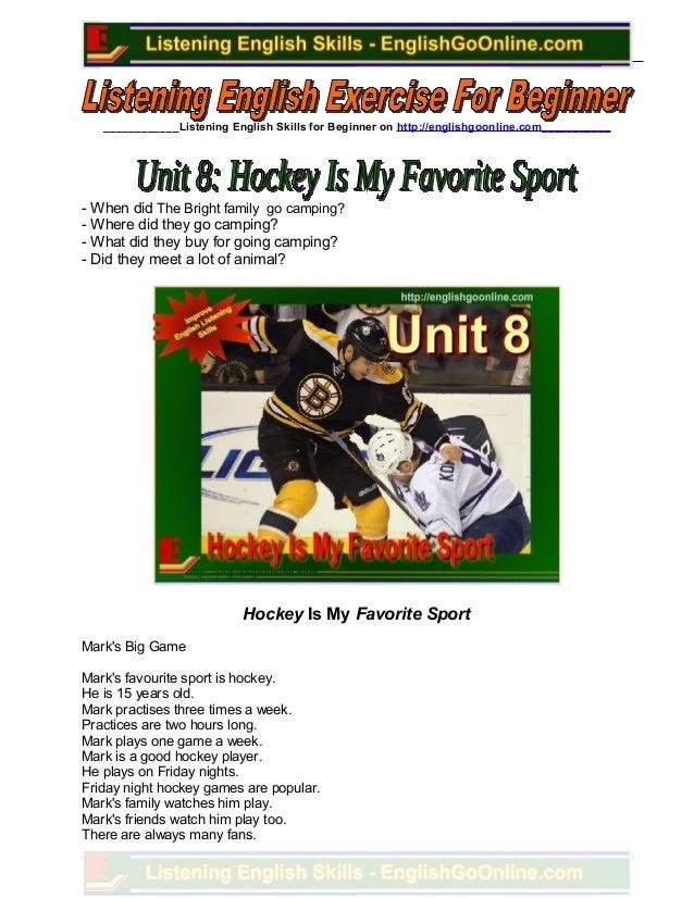 Unit 8. hockey is my favorite sport