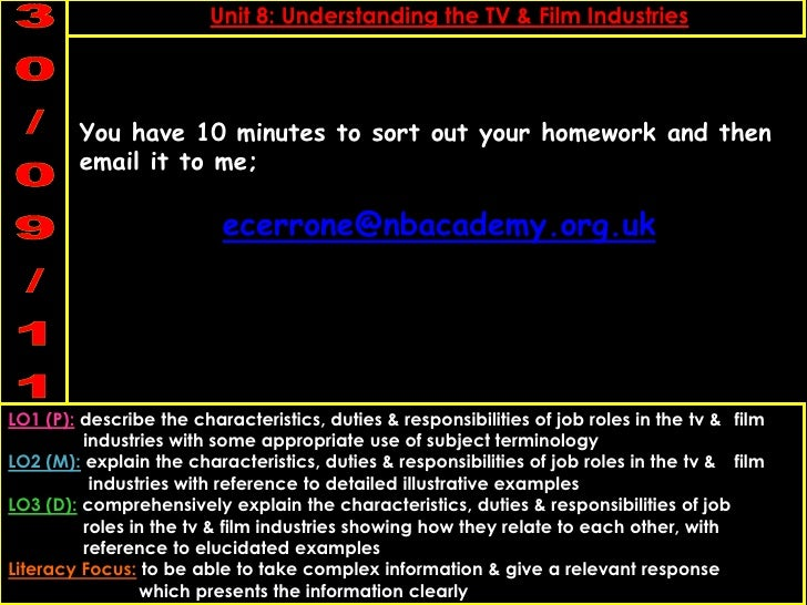 You have 10 minutes to sort out your homework and then email it to me;<br />ecerrone@nbacademy.org.uk<br />
