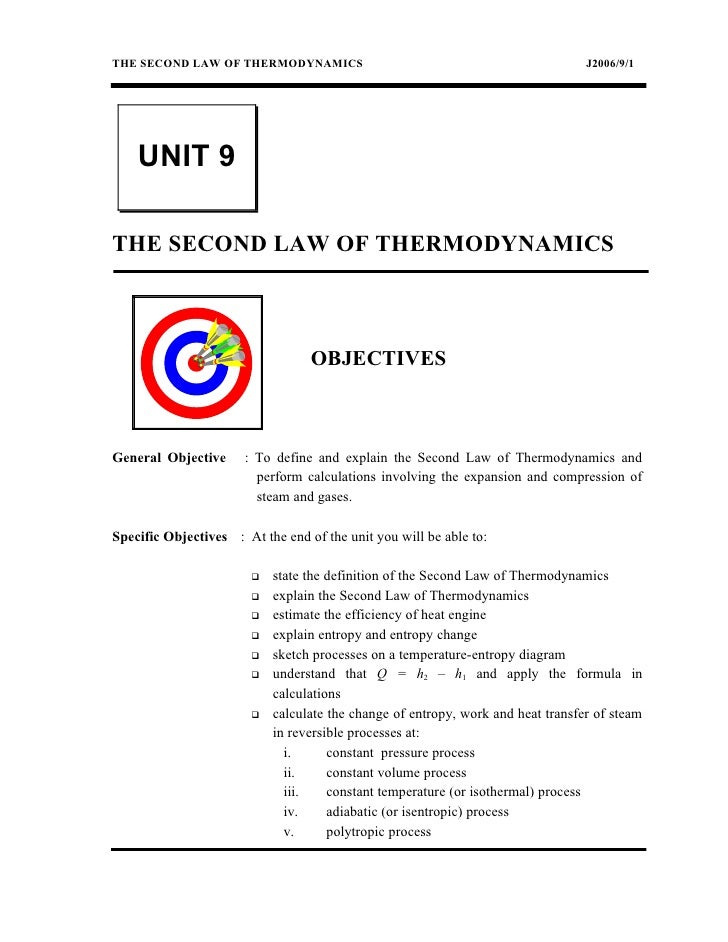 THE SECOND LAW OF THERMODYNAMICS                                                  J2006/9/1    UNIT 9THE SECOND LAW OF THE...