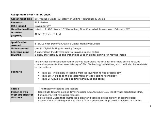 essay about unit 1 assignment brief 1
