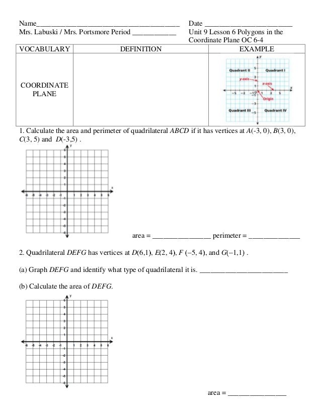 Unit 9 lesson 6 polygons in the coordinate plane