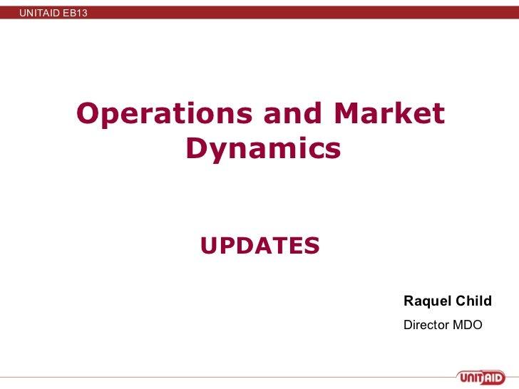 Operations and Market Dynamics  UPDATES Raquel Child Director MDO