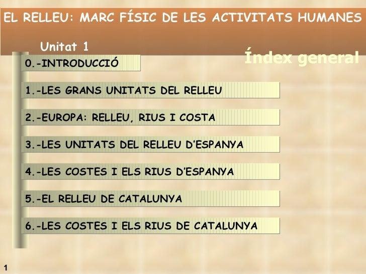 EL RELLEU: MARC FÍSIC DE LES ACTIVITATS HUMANES  Unitat 1 Índex general 1 0.-INTRODUCCIÓ 1.-LES GRANS UNITATS DEL RELLEU  ...