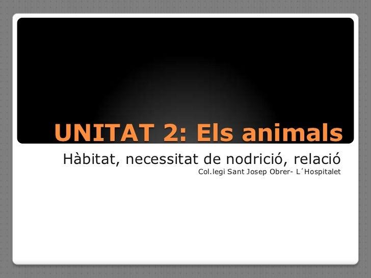 UNITAT 2: Els animalsHàbitat, necessitat de nodrició, relació                   Col.legi Sant Josep Obrer- L´Hospitalet