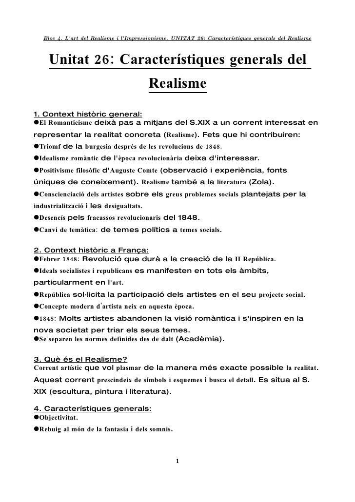 Unitat 26  CaracteríStiques Generals Del Realisme