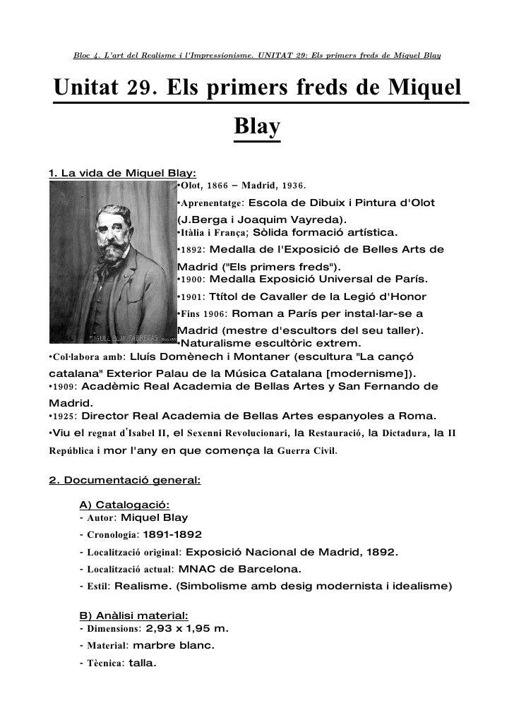 Unitat 29  Els Primers Freds De Miquel Blay