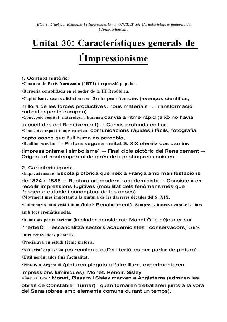 Bloc 4. L'art del Realisme i l'Impressionisme. UNITAT 30: Característiques generals de                                    ...