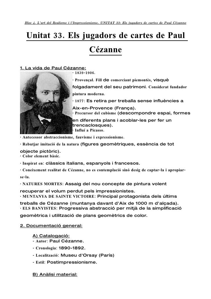 Bloc 4. L'art del Realisme i l'Impressionisme. UNITAT 33: Els jugadors de cartes de Paul Cézanne       Unitat 33. Els juga...