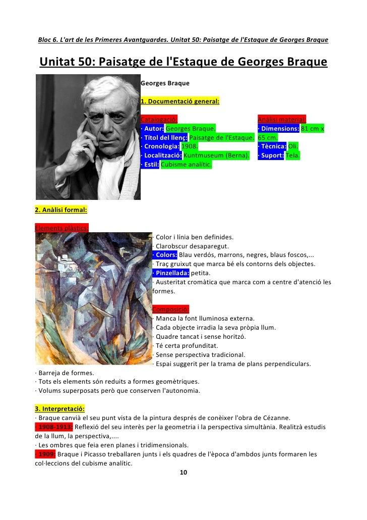 Bloc 6. L'art de les Primeres Avantguardes. Unitat 50: Paisatge de l'Estaque de Georges Braque    Unitat 50: Paisatge de l...
