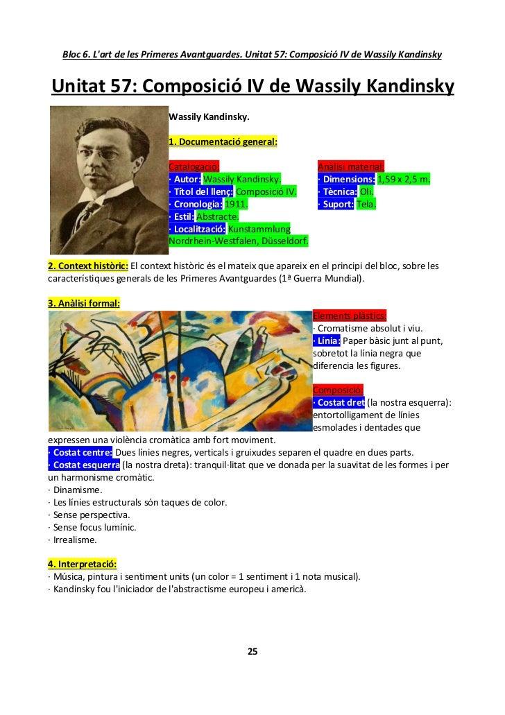 Bloc 6. L'art de les Primeres Avantguardes. Unitat 57: Composició IV de Wassily Kandinsky   Unitat 57: Composició IV de Wa...