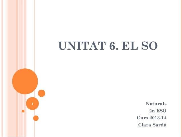 UNITAT 6. EL SO  1  Naturals 2n ESO Curs 2013-14 Clara Sardà